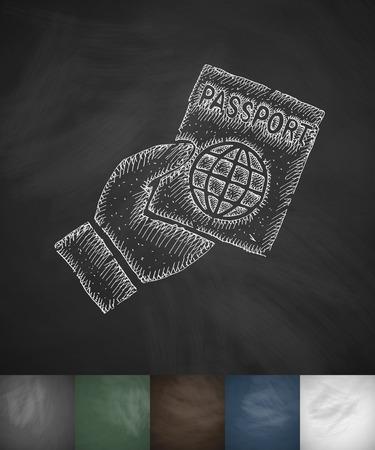 パスポートのアイコン。手には、ベクター グラフィックが描画されます。黒板のデザイン