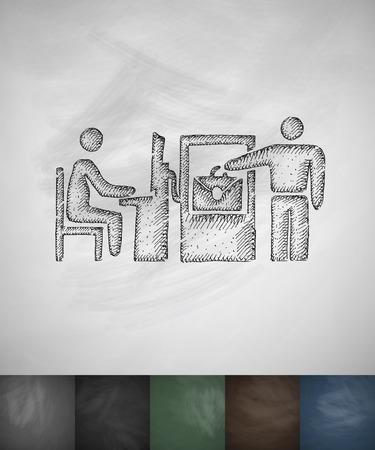 checked: checked baggage icon. Hand drawn vector illustration. Chalkboard Design Illustration