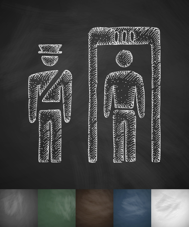 homeland: Inspection at the airport icon. Hand drawn vector illustration. Chalkboard Design