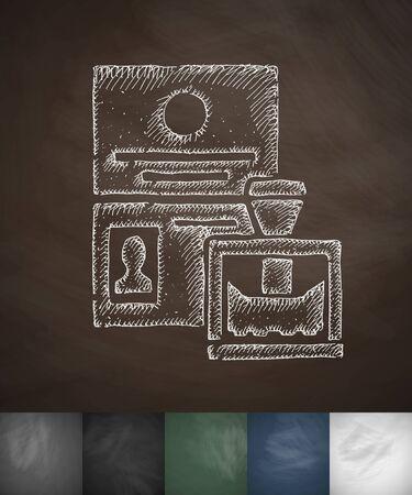 emigration: passport control icon. Hand drawn vector illustration. Chalkboard Design