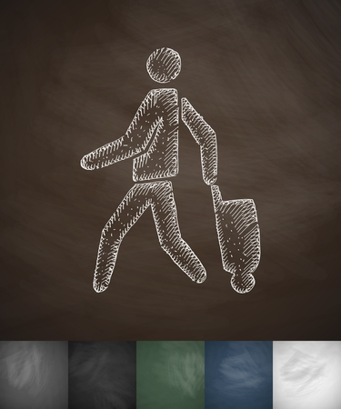 emigrant: emigrant with suitcase icon. Hand drawn vector illustration. Chalkboard Design