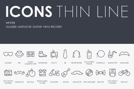 slang: Thin Stroke Line Icons of Hipster on White Background