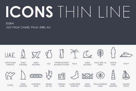 united arab emirate: Thin Stroke Line Icons of Dubai on White Background Illustration