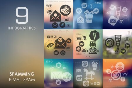 spamming: spamming vector infographics with unfocused blurred background
