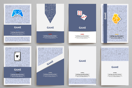 gaming: Corporate identity vector templates set with doodles gaming theme. Target marketing concept