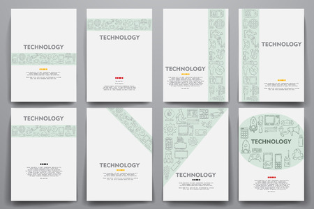 modernization: Corporate identity vector templates set with doodles technology theme. Target marketing concept
