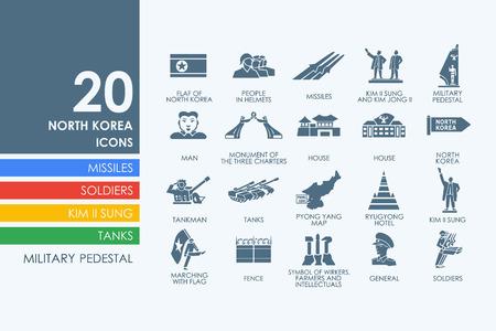 pyongyang: North Korea vector set of modern simple icons
