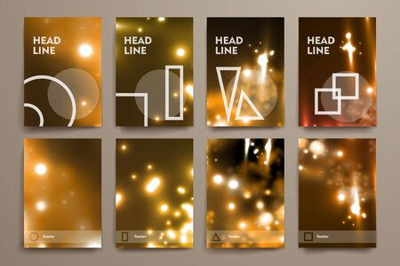deoxyribonucleic: Set of brochure, poster templates in neon molecule structure style. Beautiful design and layout