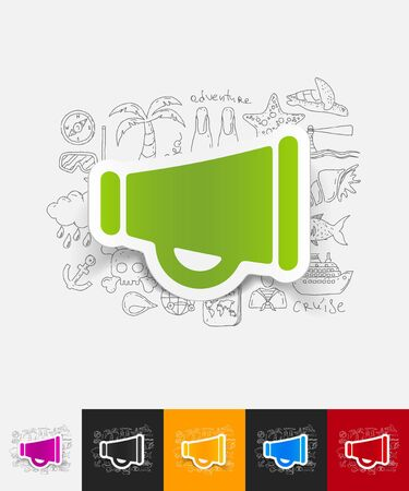 decibel: hand drawn simple elements with megaphone paper sticker shadow Illustration