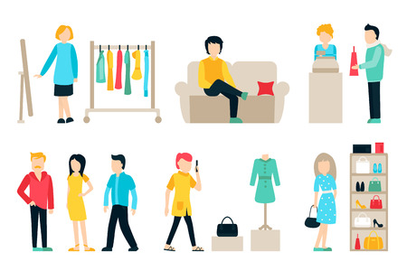 walk in closet: Vector shopping and shipping flat icons set. Mall Staff, Happy Buyers Isolated On White Background, Furniture, Clothes, Wardrobe, People Vector Illustration, Graphic Editable For Your Design