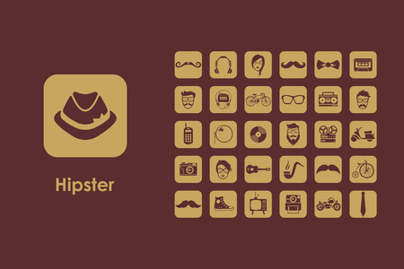 the admirer: It is a set of hipster simple web icons Illustration
