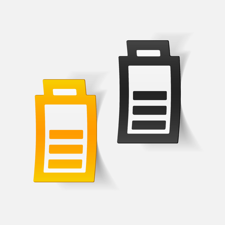 charge: realistic design element: charge the battery Illustration