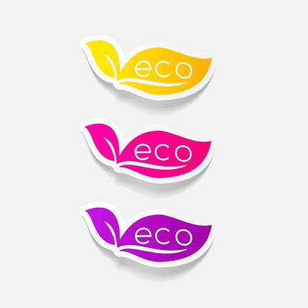space rubbish: realistic design element: eco sign leaf