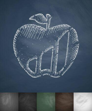 apple icon. Hand drawn vector illustration. Chalkboard Design