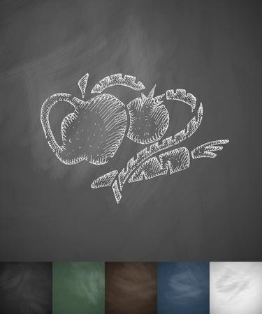 vegetables and fruits icon. Hand drawn vector illustration. Chalkboard Design Illustration