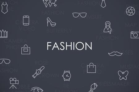 fashion shoes: Thin Stroke Line Icons of Fashion on White Background