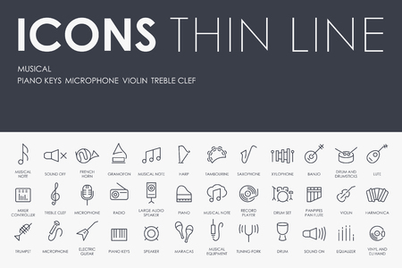 workmanship: Thin Stroke Line Icons of Music on White Background