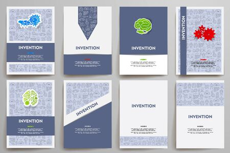 incarnation: Corporate identity vector templates set with doodles invention theme. Target marketing concept Illustration