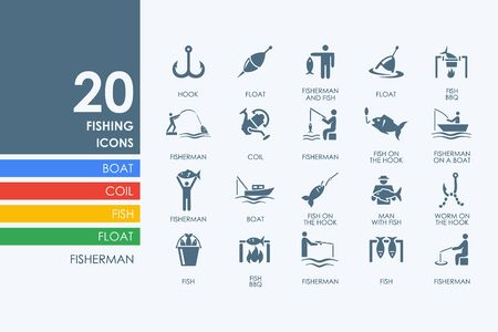 trawl: fishing vector set of modern simple icons