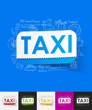 taxista: dibujado a mano elementos simples con etiqueta de papel en taxi sombra