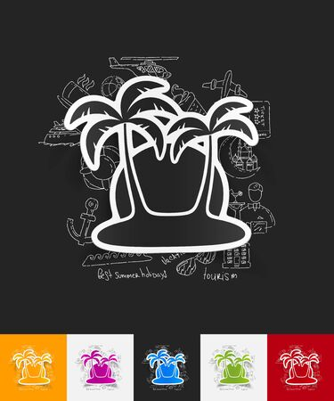 subtropics: hand drawn simple elements with palm paper sticker shadow