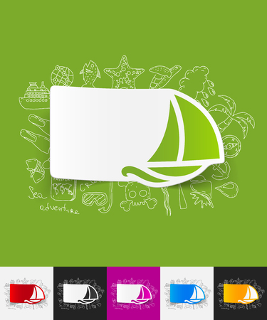 keel: hand drawn simple elements with sailboat paper sticker shadow
