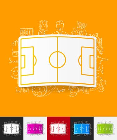 penalty flag: hand drawn simple elements with playing field paper sticker shadow Illustration