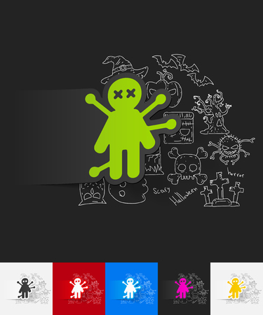 voodoo doll: hand drawn simple elements with voodoo Doll paper sticker shadow
