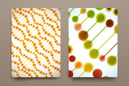 bases: Set of brochure, poster templates in DNA molecule style. Beautiful design Illustration