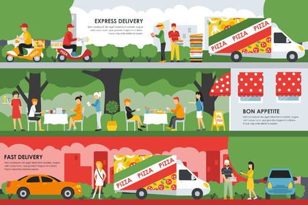 express delivery: Fast, Express Delivery and Bon Appetite flat concept web vector illustration. People, Deliveryman, Car, Scooter. Pizzeria Bistro interior presentation.