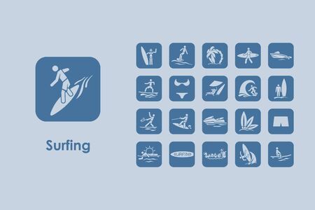 hydroplaning: It is a set of surfing simple web icons