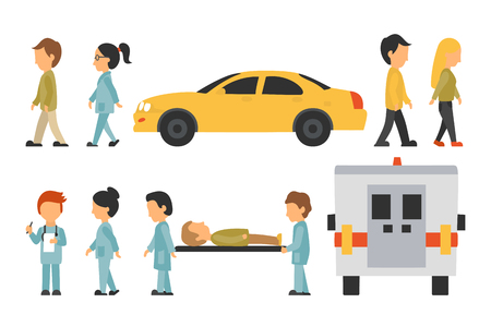 의료 직원 플랫, 흰색 배경에 고립, 의사, 간호사, 케어, 컬렉션 사람 벡터 일러스트, 그래픽 편집 가능한 디자인을위한