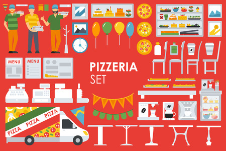minibar: Big detailed Pizzeria Interior flat icons set. Minibar, Refrigerator, Waiter, Chairs, Coffee, Coffee Machine, deliveryman, Tables. Pizza conceptual web vector illustration.