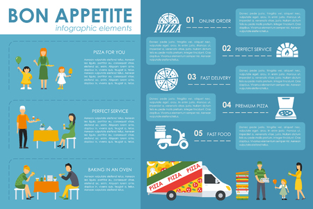 appetite: Fast, Express Delivery and Bon Appetite flat concept web vector illustration. Pizzeria Bistro interior presentation. Illustration