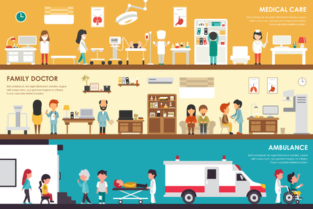 Medical Care Family Doctor Ambulance flat hospital interior outdoor concept web vector illustration. Sugrery, Patients, First Aid, Medicine service Presentations