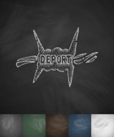 deported: deport icon. Hand drawn vector illustration. Chalkboard Design