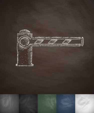 deported: barrier icon. Hand drawn vector illustration. Chalkboard Design