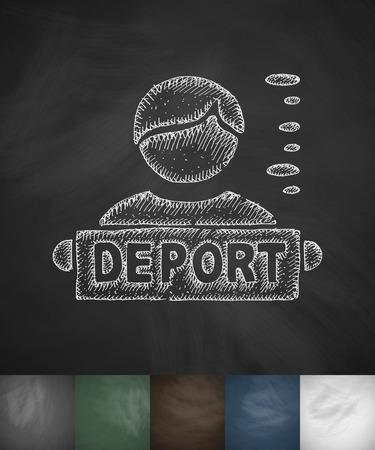 deported: DEPORT MAN icon. Hand drawn vector illustration. Chalkboard Design Illustration