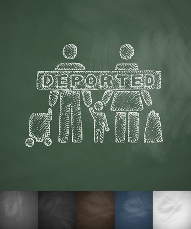 deported family icon. Hand drawn vector illustration. Chalkboard Design