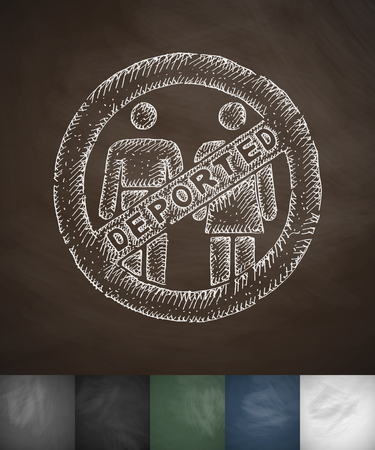 deported: deported people icon. Hand drawn vector illustration. Chalkboard Design Illustration