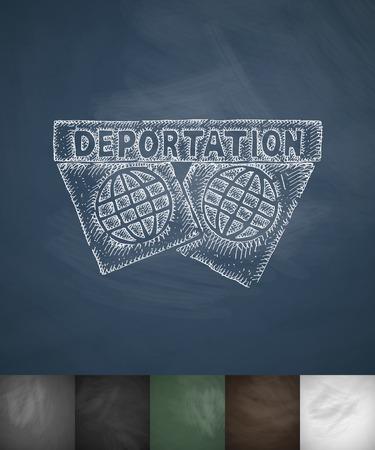 deported: DEPORTATION icon. Hand drawn vector illustration. Chalkboard Design