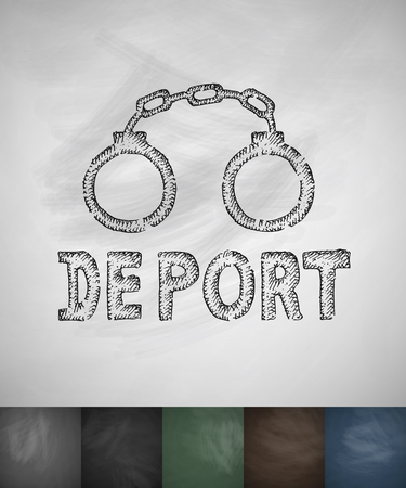 deported: handcuffs DEPORT icon. Hand drawn vector illustration. Chalkboard Design