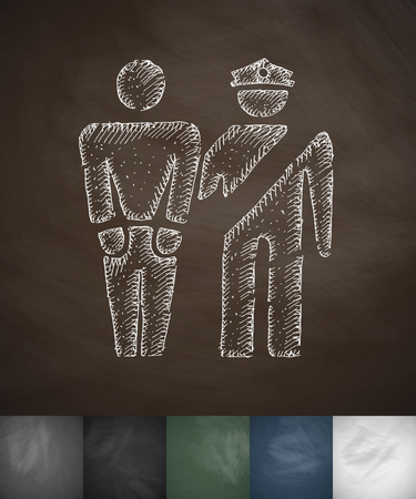 exile: arrest icon. Hand drawn vector illustration. Chalkboard Design