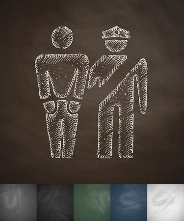 exile: arrest icon. Hand drawn vector illustration. Chalkboard Design