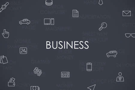 investment concept: Thin Stroke Line Icons of Business on White Background