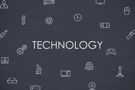 modernization: Thin Stroke Line Icons of Technology on White Background Illustration