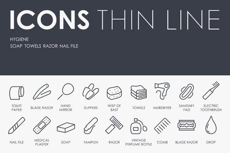 epidemiology: Thin Stroke Line Icons of Hygiene on White Background Illustration