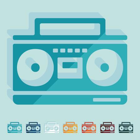 casette: Flat design: cassette recorder