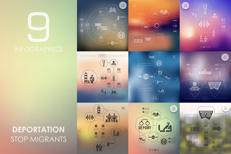 deportation: deportation vector infographics with unfocused blurred background Illustration
