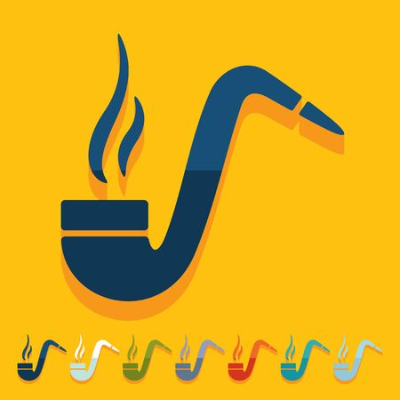 tobacco pipe: Flat design: tobacco pipe